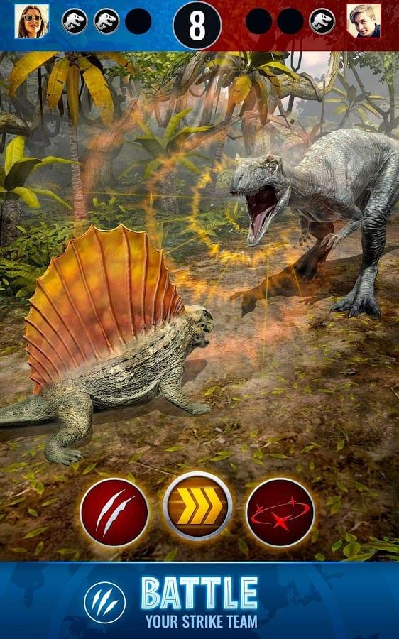 dinosaurios en una batalla de jurassic world alive