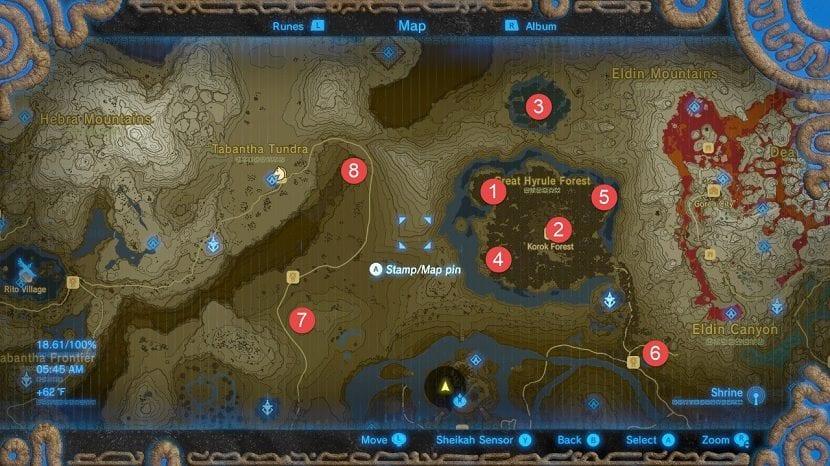 Bosque mapa santuarios Zelda: Breath of the Wild