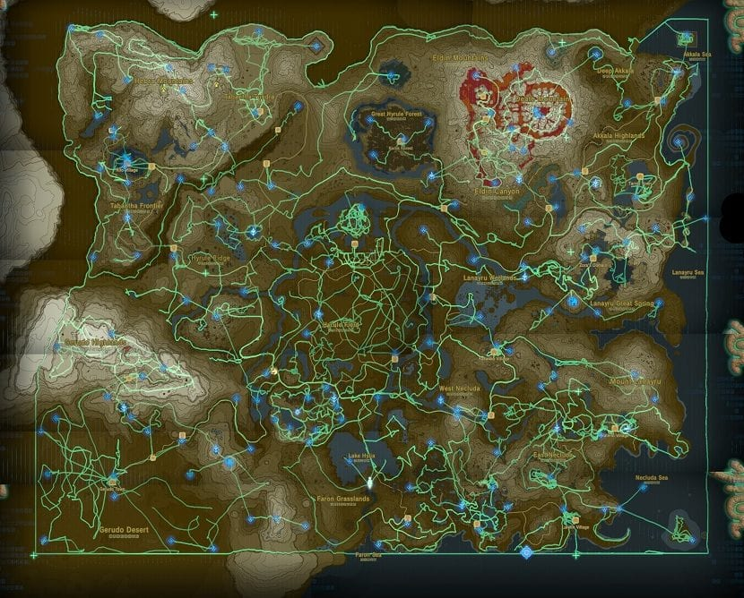 Mapa santuarios Zelda: Breath of the Wild