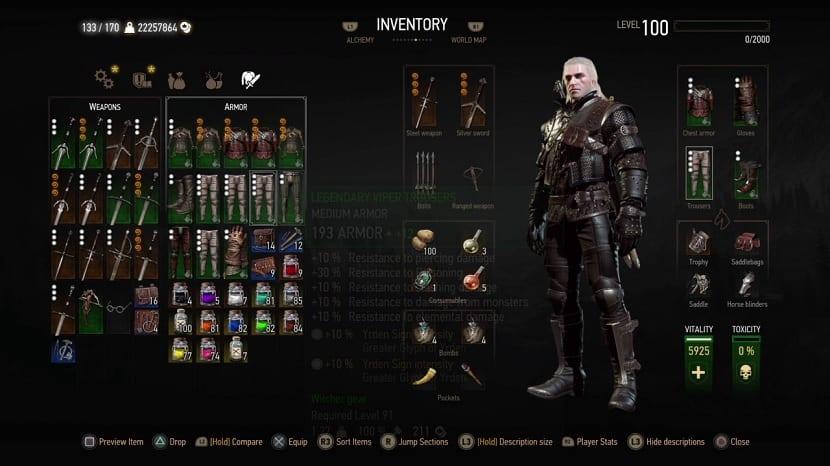 The Witcher 3 Wild Hunt inventario