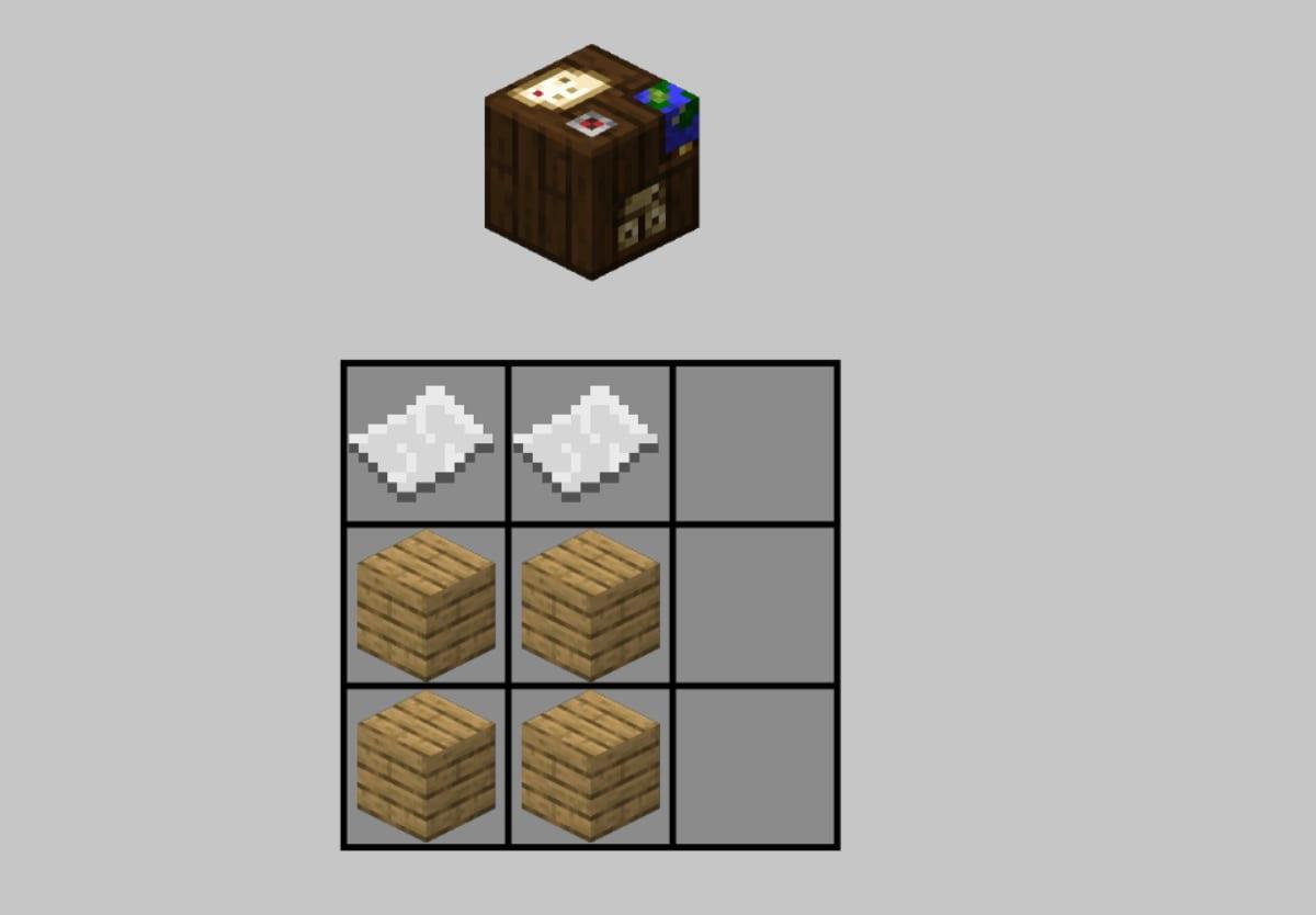 Mesa de cartografia Minecraft receta