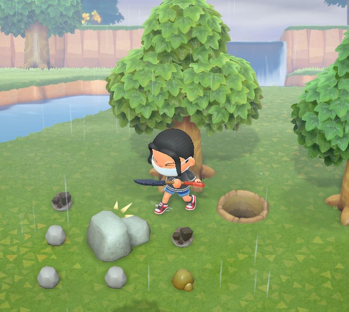 Animal Crossing New Horizons rocas con bayas
