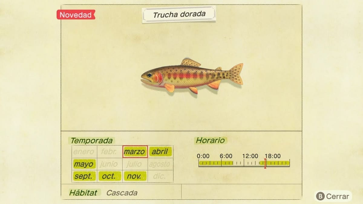 Animal Crossing New Horizons trucha dorada