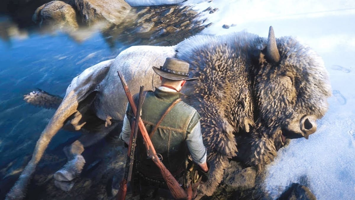 Red Dead Redemption 2 bison blanco